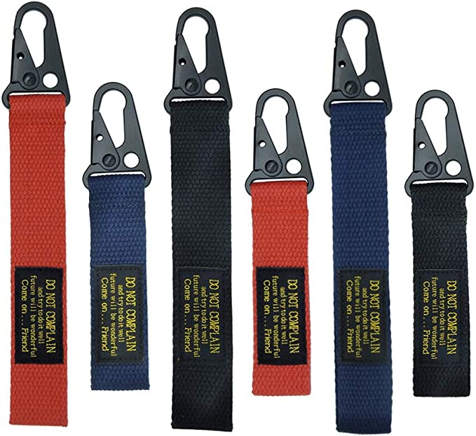 LABEN Fashion Canvas Key Chain with 2 Key Rings 2 pcs Black