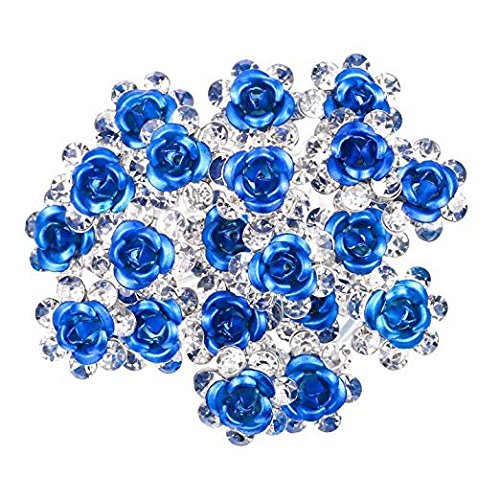 40 Pack Crystal Hair Pins Rose Flower Rhinestone Hair Clips for Bridal Wedding Women Hair Jewelry Accessories, with Storage Bag (Blue) KisSealed 31