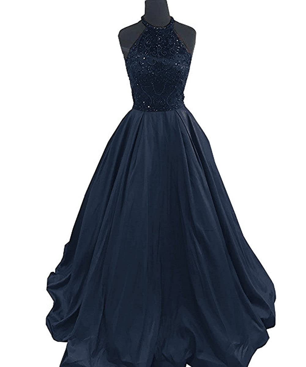 Navy Lnxianee Women's Halter Beaded Prom Dresses Long Formal Satin Party Evening Gowns