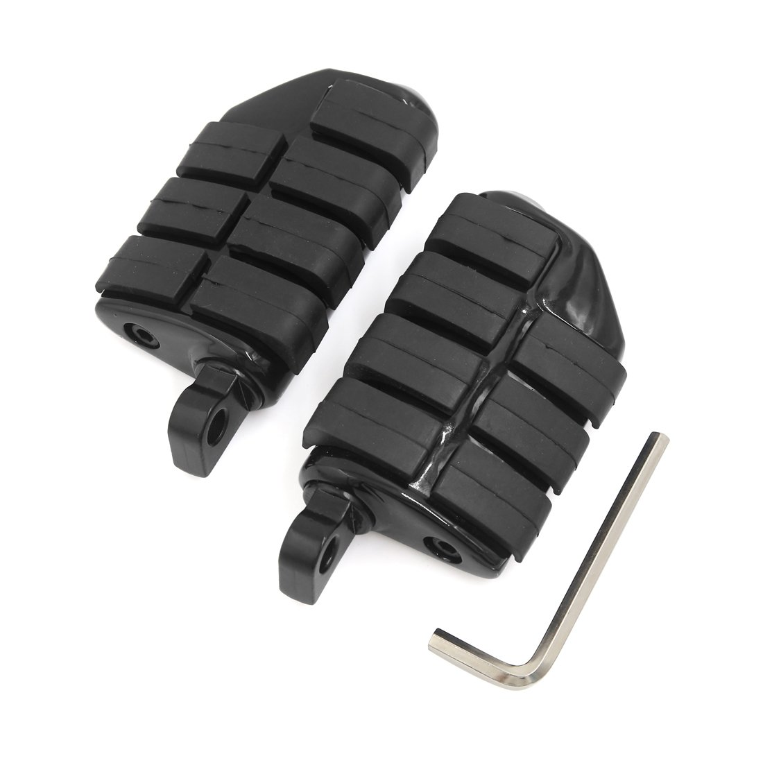 uxcell Gloss Black Male Mount Dually Highway Motorcycle Foot Pegs For Harley Davidson Road King Street Glide