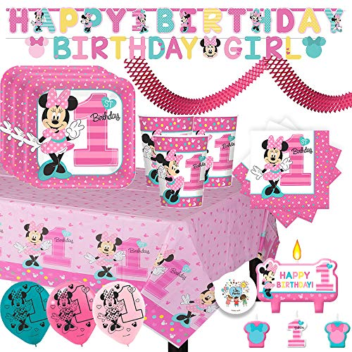 (Minnie Mouse Fun To Be One Mega First Birthday Party Supplies Pack With Plates, Cups, Napkins, Tablecover, Birthday Banners, Balloons, Candles, Streamer and Exclusive Pin By Another)