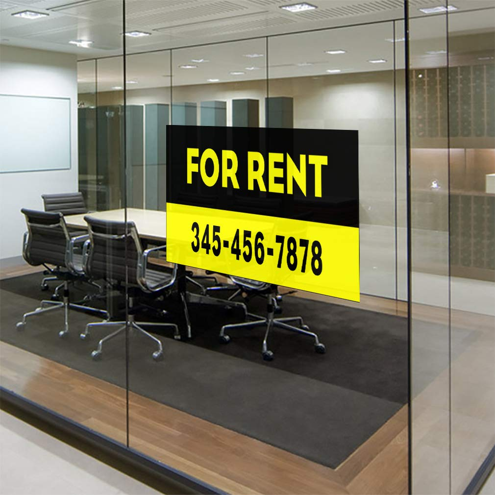Custom Door Decals Vinyl Stickers Multiple Sizes for Rent Phone Number Black Yellow B Business House for Rent Outdoor Luggage /& Bumper Stickers for Cars Black 45X30Inches Set of 5