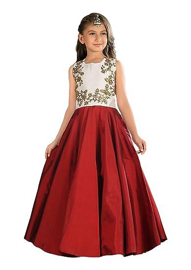 fc776a8804c Cartyshop Girl s Latest Pure White Satin Silk N Maroon Badla Zari  Embroidery Umbrella Cut Flair Readymade
