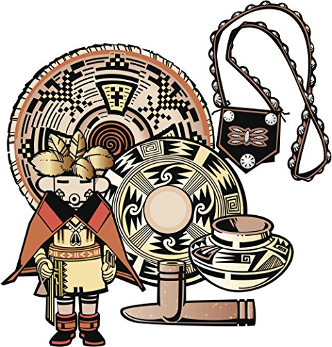 Indian Kachina (Native American Indian Kachina Pueblo Doll and Artifacts Cartoon Vinyl Decal Sticker (4