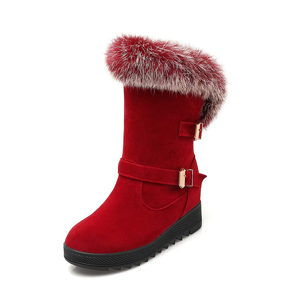 QINGMM Frauen Mode Wildleder Wildleder Wildleder Schnee Stiefel 2018 Winter Casual Flache Baumwolle Stiefel Große Größe rot 37 EU 617716