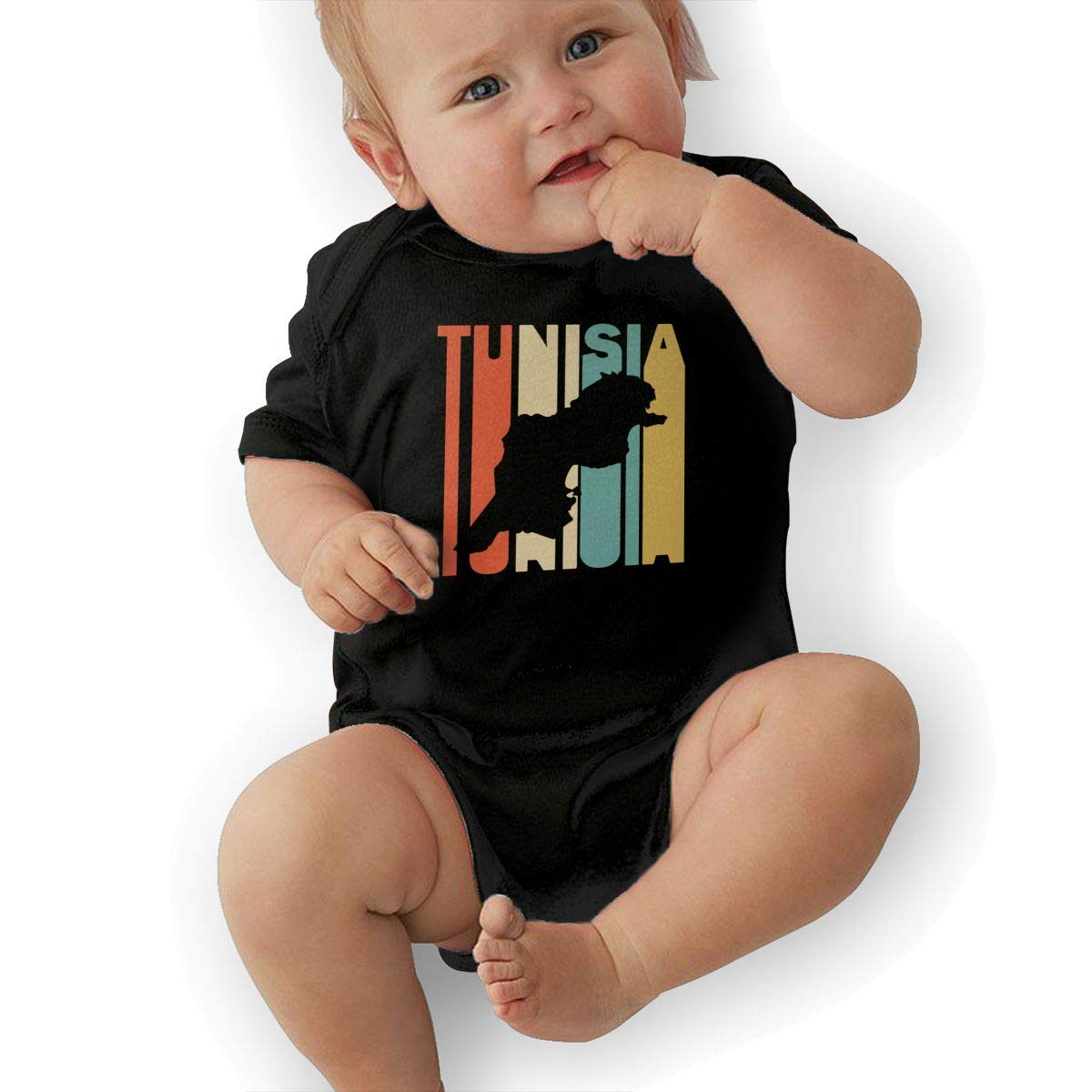 Short Sleeve Cotton Bodysuit for Baby Boys and Girls Cute Retro Style Tunisia Silhouette Jumpsuit
