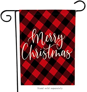 Artofy Merry Christmas Garden Flag, Decorative Xmas Outdoor Flag Sign Buffalo Check Plaid Red Black, Rustic Burlap House Yard Garden Flag Winter Outside Decoration Holiday Home Decor Flag 12 x 18