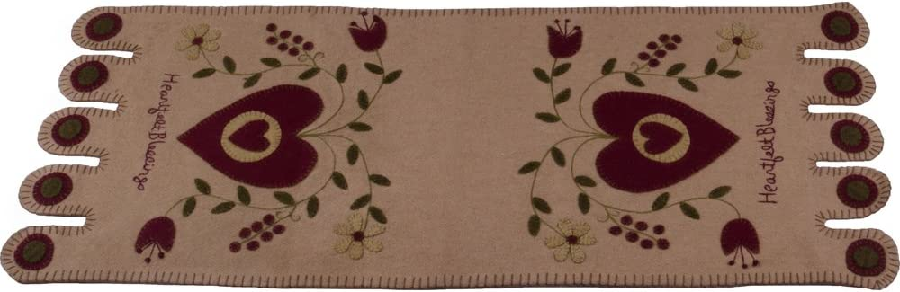 """Home Collections by Raghu 14""""x36"""" Heartfelt Blessings Nutmeg Table Runner"""