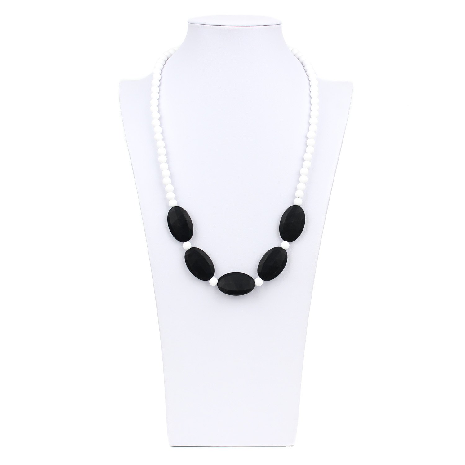 Nixi Sasso Teething Necklace, White/Black by Bumkins   B00EZM7A5C
