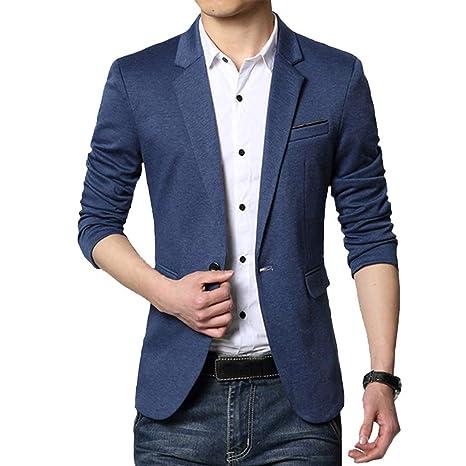 Guiran Hombres Blazer Informal Business Casual Chaquetas De Traje Y Americanas Slim Fit Azul L