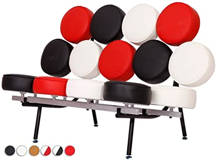 MLFu0026reg; George Nelson Style Marshmallow Sofa In Premium Italian Leather  (Black, White And