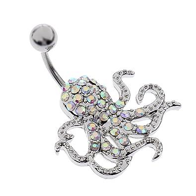Monkeyjack Cz Dangle Belly Button Rings Octopus Shape 14g Gem Fancy Navel Ring Barbell