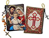 Religious Gift Holy Family Icon Cloth Tapestry Rosary Pouch Zipper Close 5 3/8 Inch