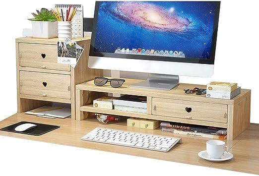Soporte para monitor y monitor de escritorio, organizador de escritorio con 3 cajones para suministros de oficina y espacio de almacenamiento para ...