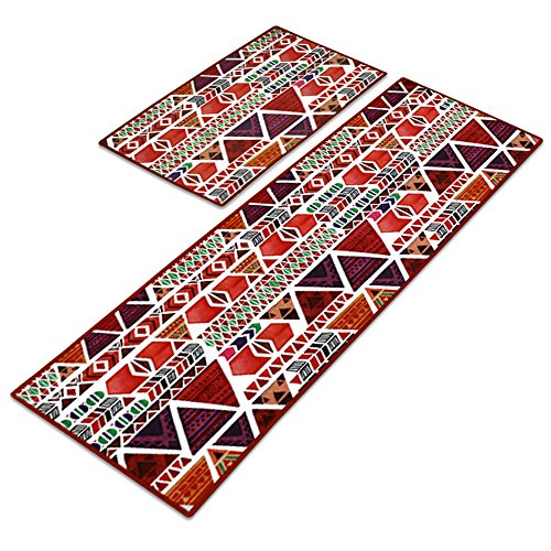 (Carvapet 2 Piece Non-Slip Kitchen Mat Runner Rug Set Doormat Vintage Design Indian Style,Triangle (20