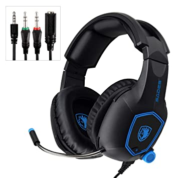 Mystery Gaming Headset, 3 5mm Stereo Sound Noise Cancelling Microphone  Headset Over-Ear Headphones with Mic Mute Volume Control Memory Earmuffs