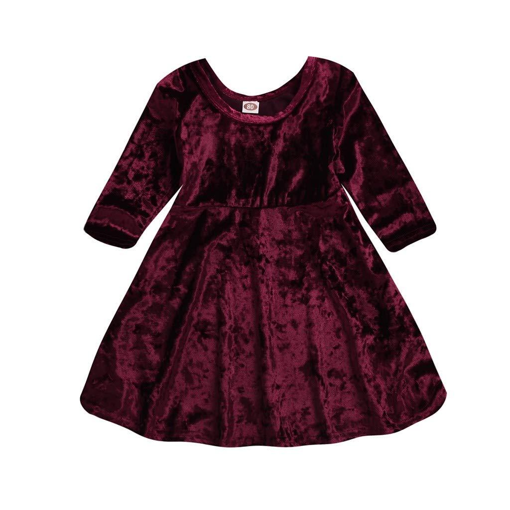 Jimmackey Neonata Vestito, Bambina Solido O-Collar Velluto Abito Tutu Principessa Casual Dress