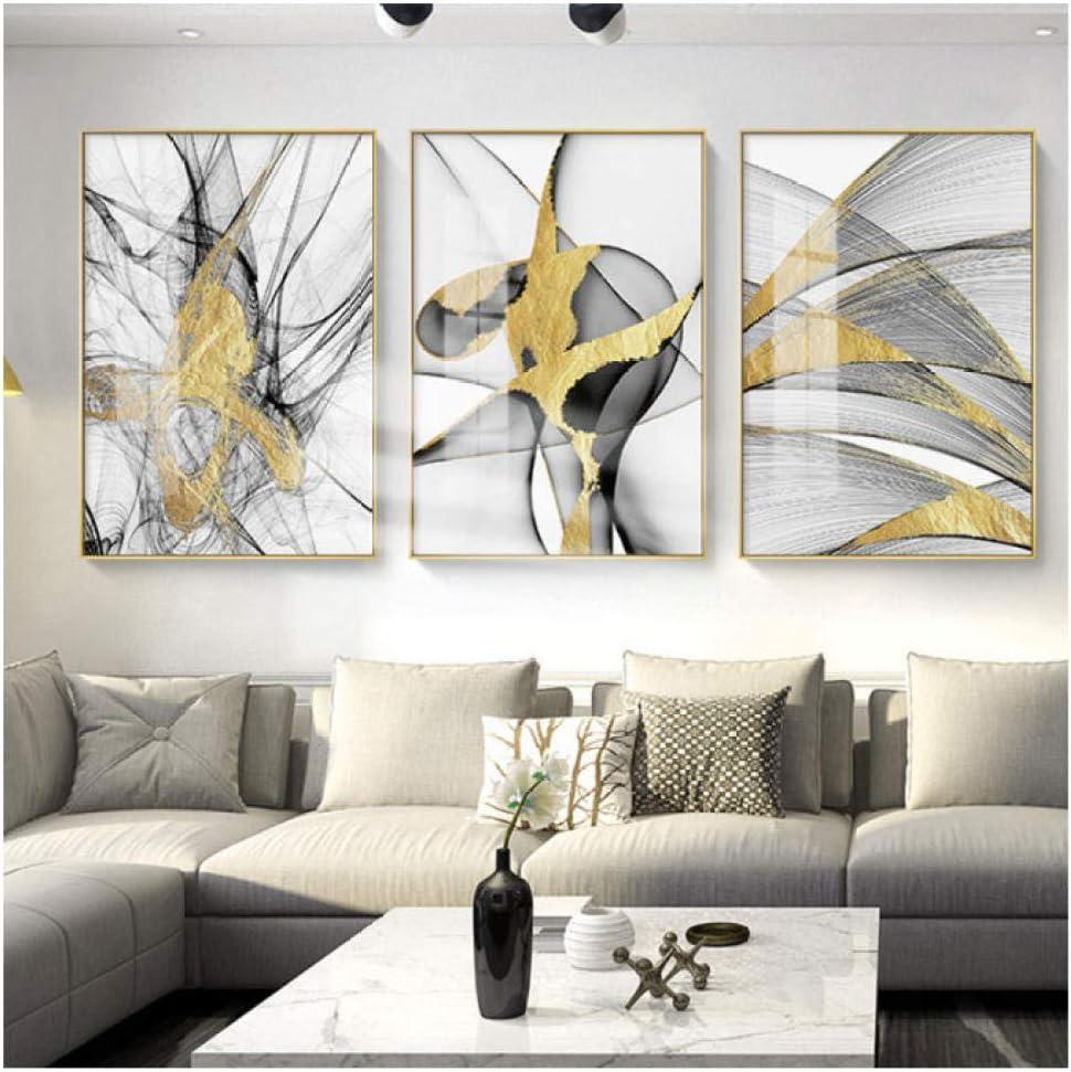 DecorKART Estilo Abstracto Colores Dorados Que salpican con Sombra Gris Pintura de Lienzo Cuadros artísticos de Pared para Sala de Estar Dormitorio y Pasillo 50 * 70 cm sin Marco