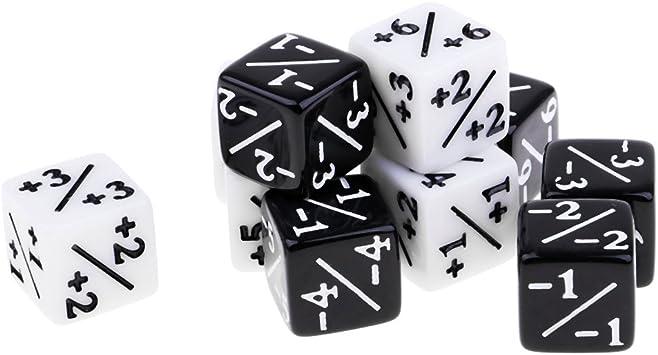 non-brand D6 Dados de Fracción Dado de Seis Caras para Juegos de Mesa - Negro + Blanco: Amazon.es: Juguetes y juegos