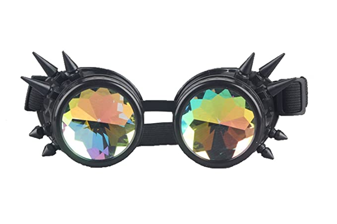 Kaleidoscope Rave Rainbow Crystal Lenses Vintage Goggles Glasses by Focussexy