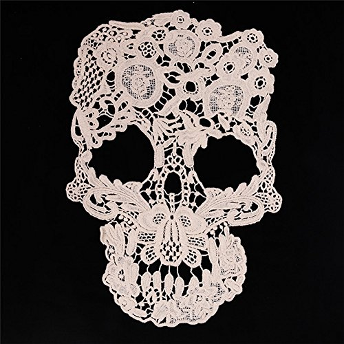 Smiry 2 Pcs Punk Style Skull Pattern Floral Corded Embroidery Lace Applique Motif for Bridal Gown Bridal Veil Wedding Dresses DIY (Veil Gown)