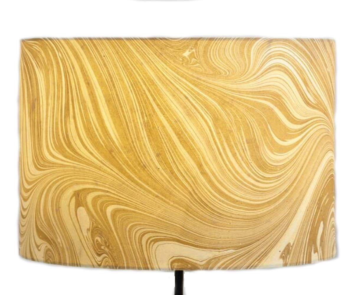 Drum Table Lamp Shade Marble for Home Lighting Decor - Crafted of Paper with Matte Champagne Gold Finish - 13''Dia. x 10''H