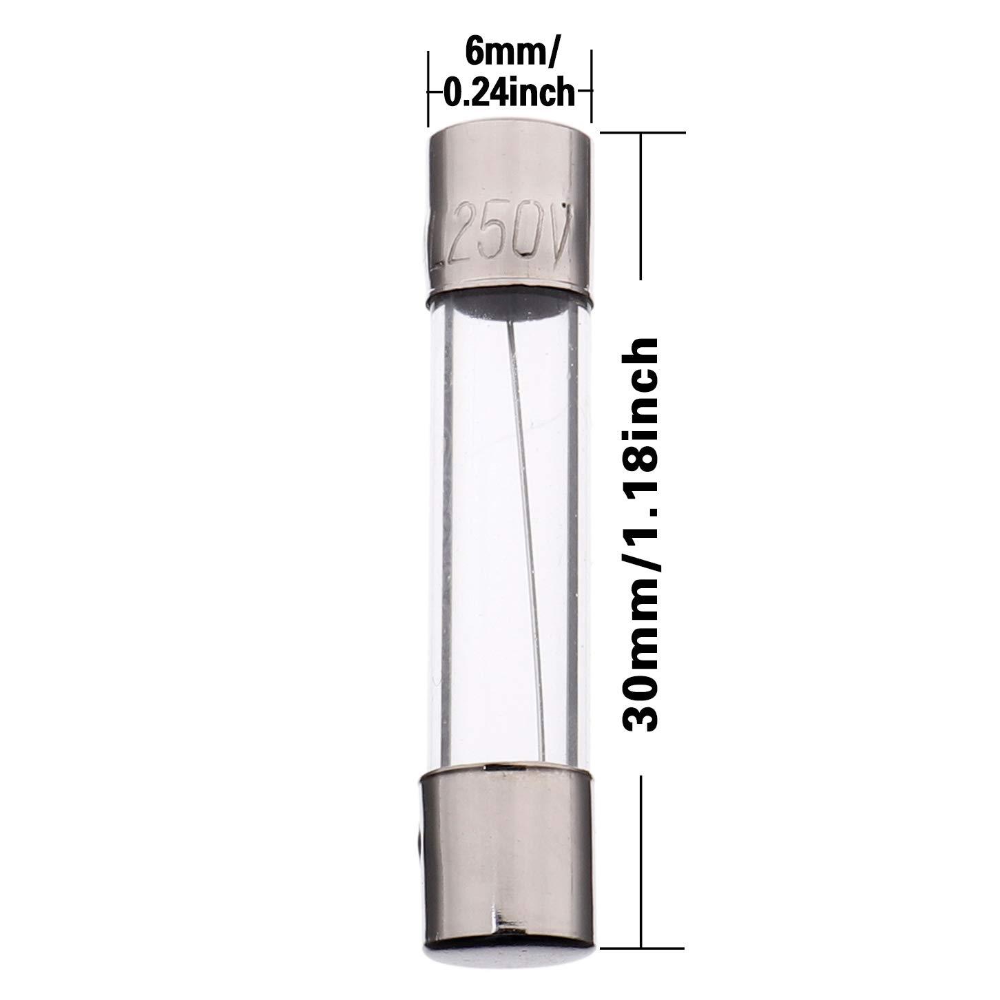 paquete de 18 piezas BOJACK 6x30 mm 0.5 A 250 V 0.24x1.18 pulgadas F0.5AL250V 0.5 amp 250 voltios Fusibles de vidrio de soplado r/ápido