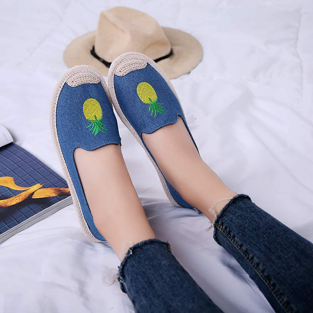 SMILINGGIRL Scarpe Da Pescatore Di Paglia Da Donna Scarpe Scarpe Scarpe Basse Scarpe Da Studente In Tela Da Donna,Blue,5 - b8bb45