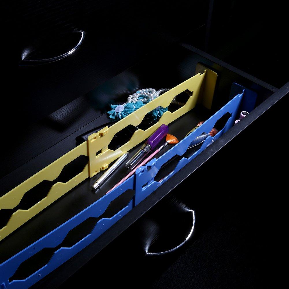 Azul Fdit Organizador de Cajones Separador Pl/ástico de Cajones de 5 Colores Almacenamiento Plegable para Cocina Dormitorios Socialme-EU