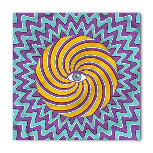 Ambesonne Unisex Bandana, Vintage Color Hypnotic Circles, Lavender Yelllow