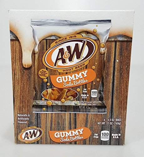 Gummy Soda Bottles 6 Count Boxes (A&W Root Beer) -