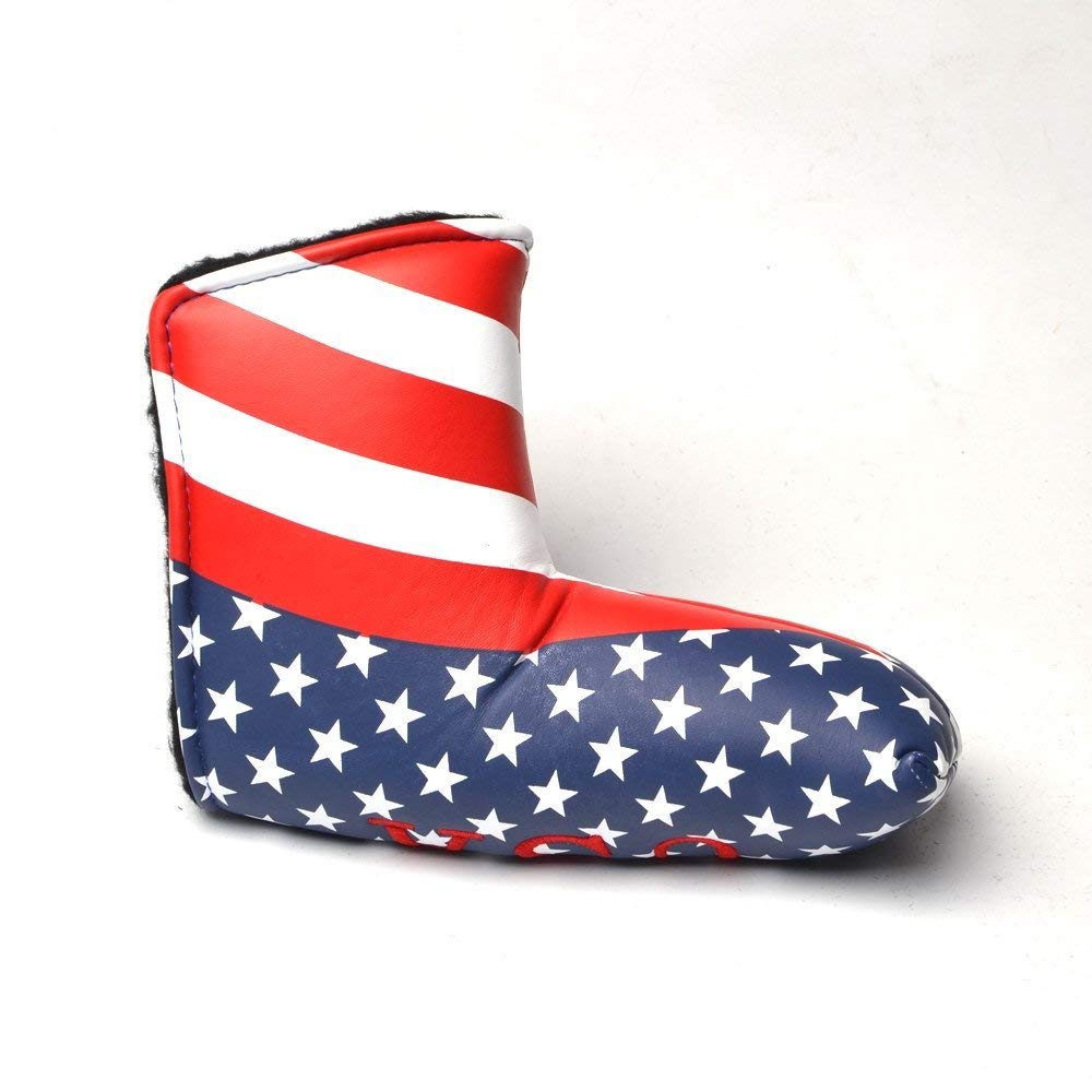 Plusker ゴルフブレードパターカバー 簡単ロック留め 愛国的な星条旗柄 ゴルフクラブパターヘッドカバー   B07SLYKGRF