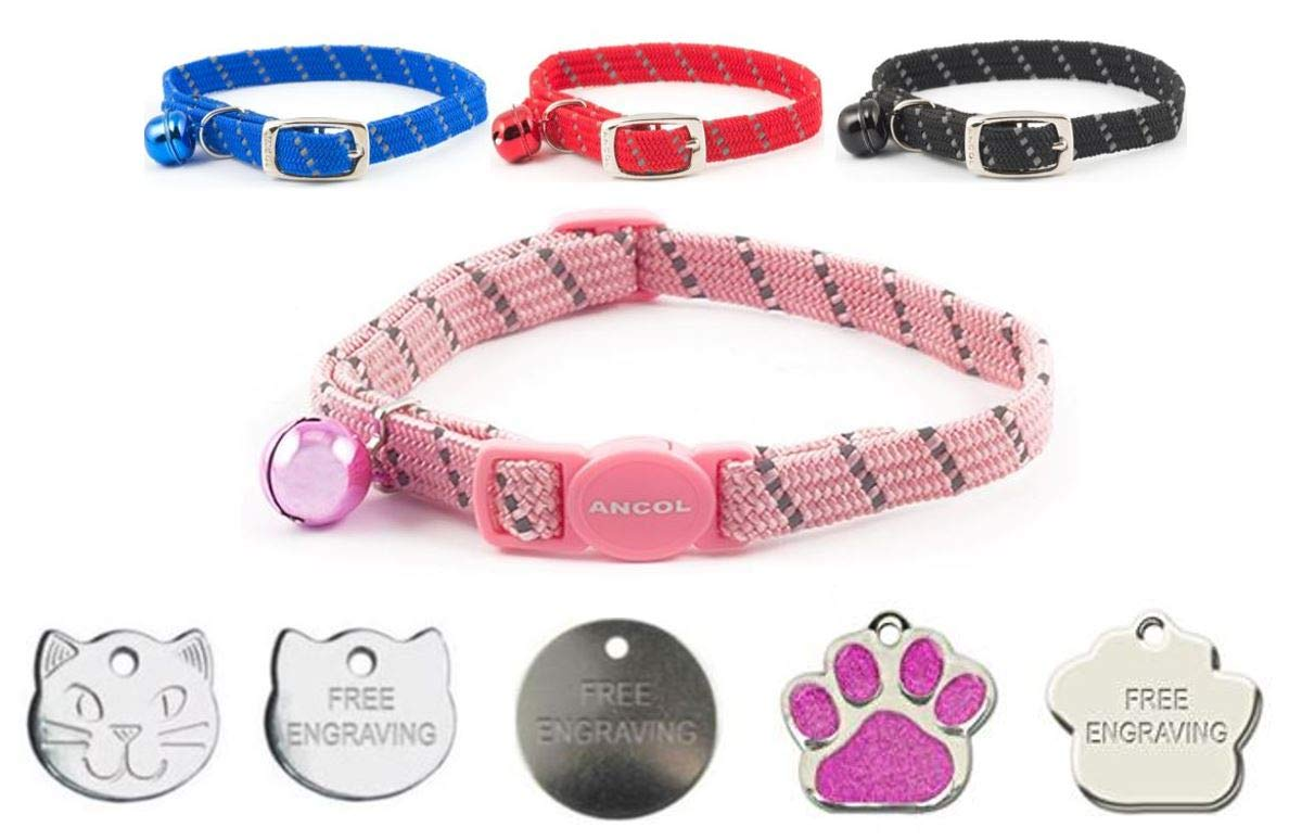 Cat Collar Ancol Reflective Softweave Safety Release With Optional Engraved Tag