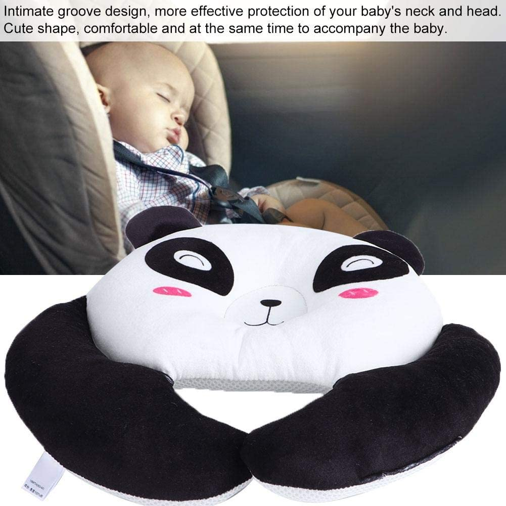 Baby Pillow Infant Newborn Baby Sleeping Pillow Soft Stroller Cushion Neck Support Pillow for Baby Boys Girls Black