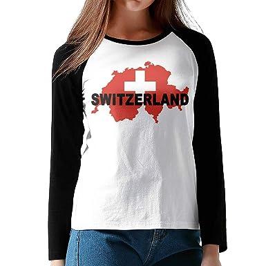 d93222f5fe14 Amazon.com  Women s Switzerland Flag Map Comfy Long-Sleeve T-Shirt ...