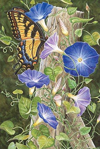 (Toland Home Garden Morning Glory 12.5 x 18 Inch Decorative Spring Summer Swallowtail Butterfly Flower Garden Flag)