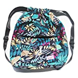 Dry Wet Separated Swimming Bag Floral Waterproof Drawstring Backpack Pool Beach Travel Gym Bag (Blue Leaf)