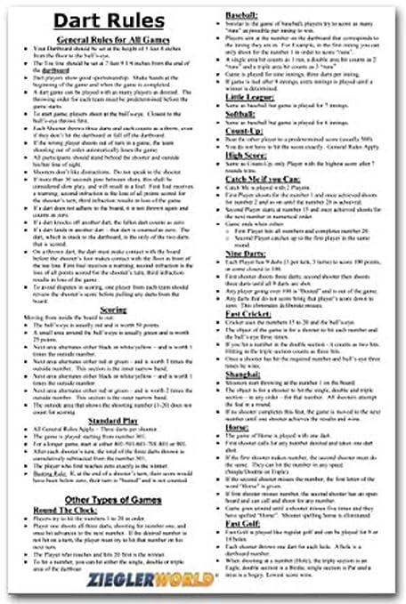 Zieglerworld 11 X 17 Large Laminated Dart Rules Regulations Poster