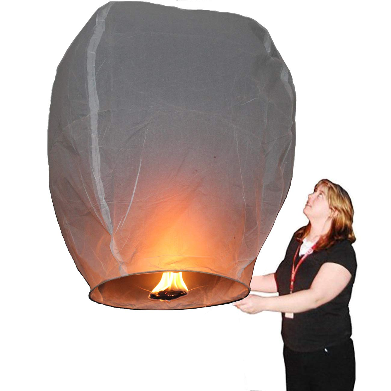 Nuluphu Sky Lanterns 10-Pack, Fully Assembled and100% Biodegradable (No Iron Wire),for Any Birthdays, Parties, New Years,Funeral, Memorial Ceremonies, and More (White) by Nuluphu (Image #3)
