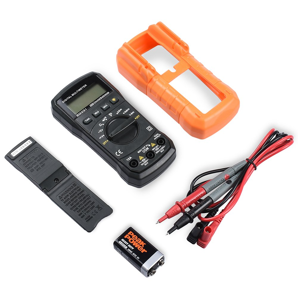 Digital Multimeter, BEBONCOOL Auto-Ranging AC DC Voltmeter, Electronic Amp Volt Ohm Voltage Tester with Diode and Continuity Test Scanners, Backlight LCD Display (Orange) by BEBONCOOL (Image #6)