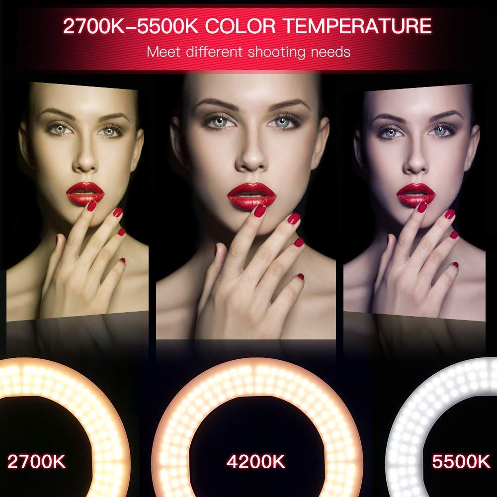 LED Ring Light Table Top Mini LED Ring Light Lighting Kit Includes12 inch Outer 38W 5500K Ring Light, Mirror, Desktop Support Stand Beauty Blog Make up Selfie Studio Portrait Video Photography by yidoblo