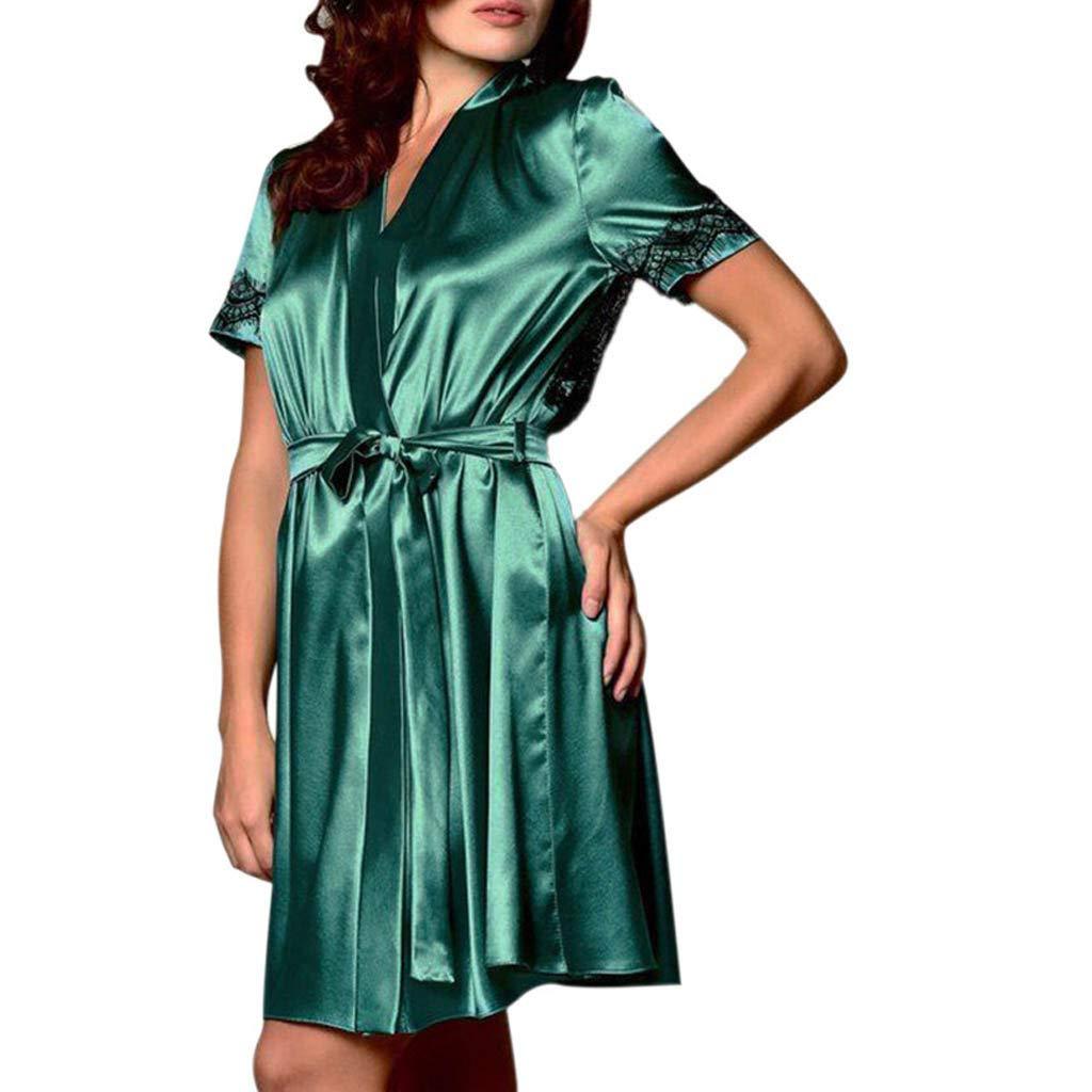 Joyance Women's Sexy Silk Kimono Dress Doll, Lace Cutout Back Satin Satin Bathrobe Pajamas Green