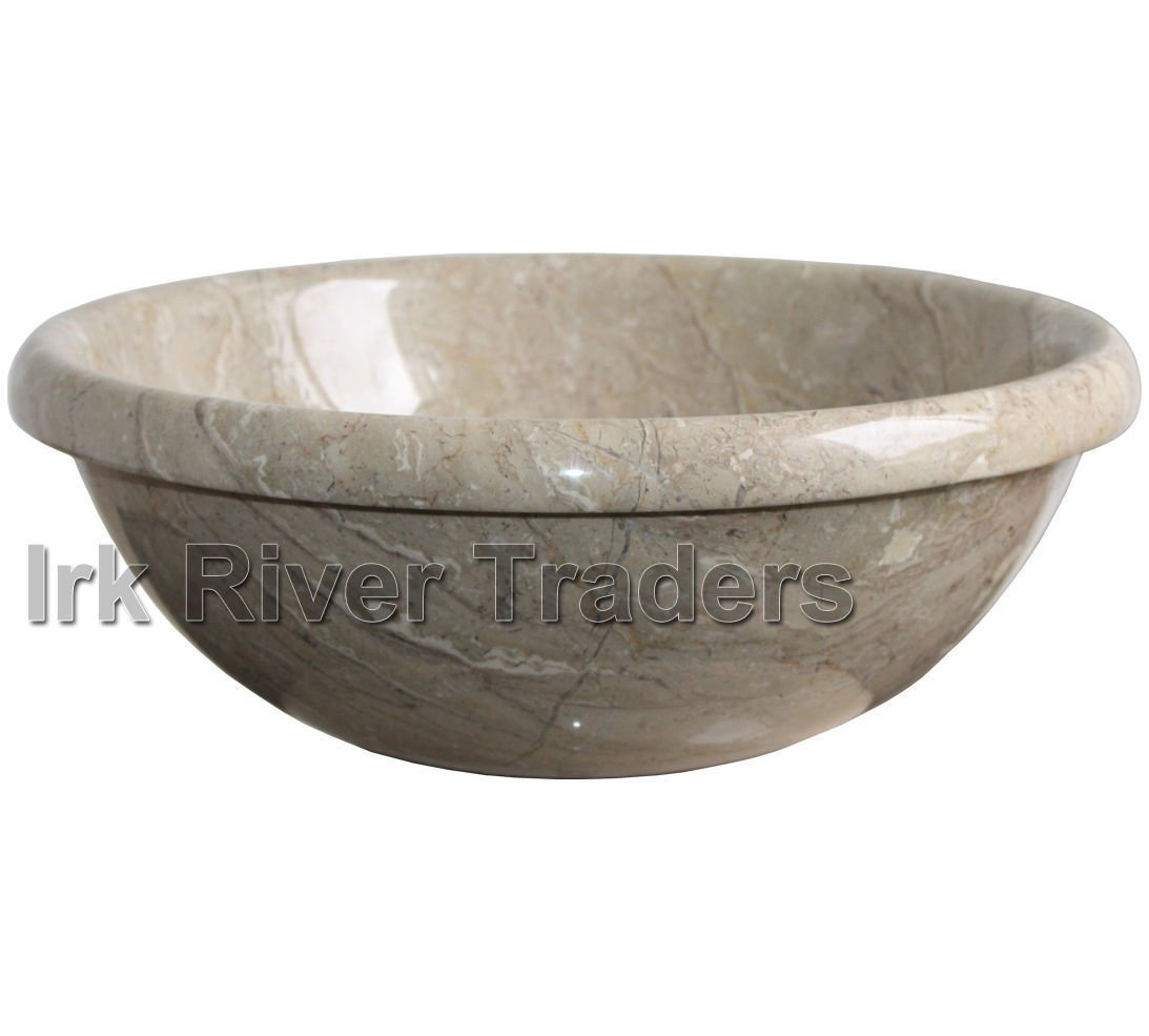 Natural Marble Stone Sink Bathroom Counter Top Inset Drop-in Self Rimming Basin Wash Bowl Bath Sink Round 16