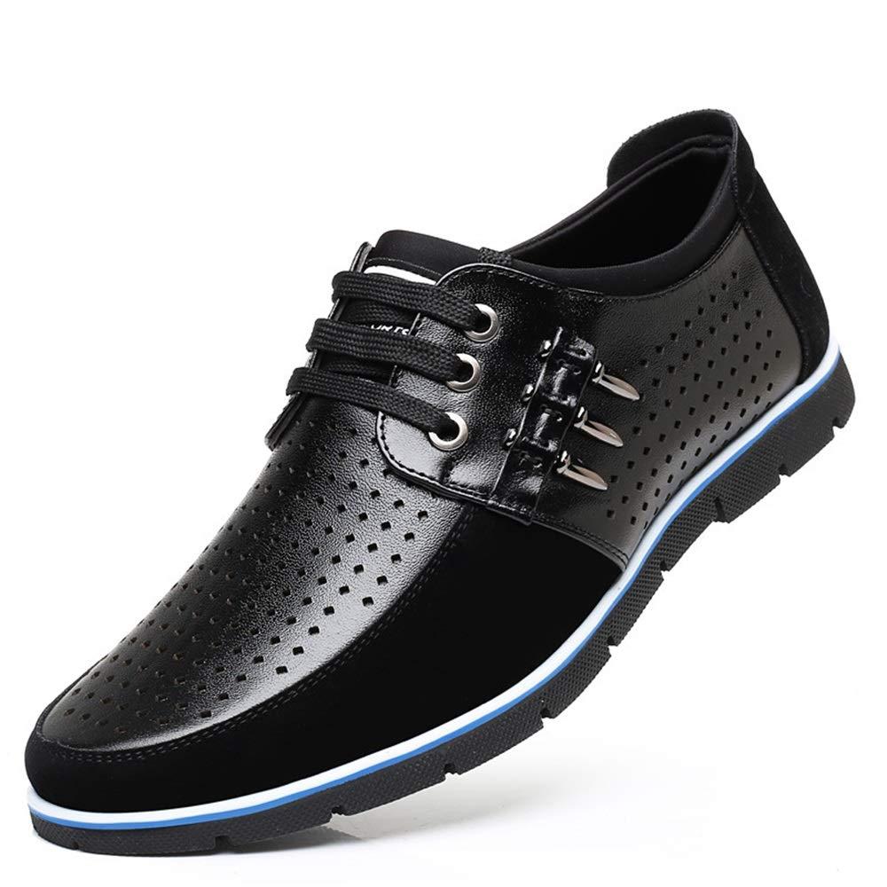 Qiusa Casual Lace up Schuhe für Männer Versteckte Ferse Lace up Driving aushöhlen Bequeme Derby (Farbe : Schwarz, Größe : EU 39) -