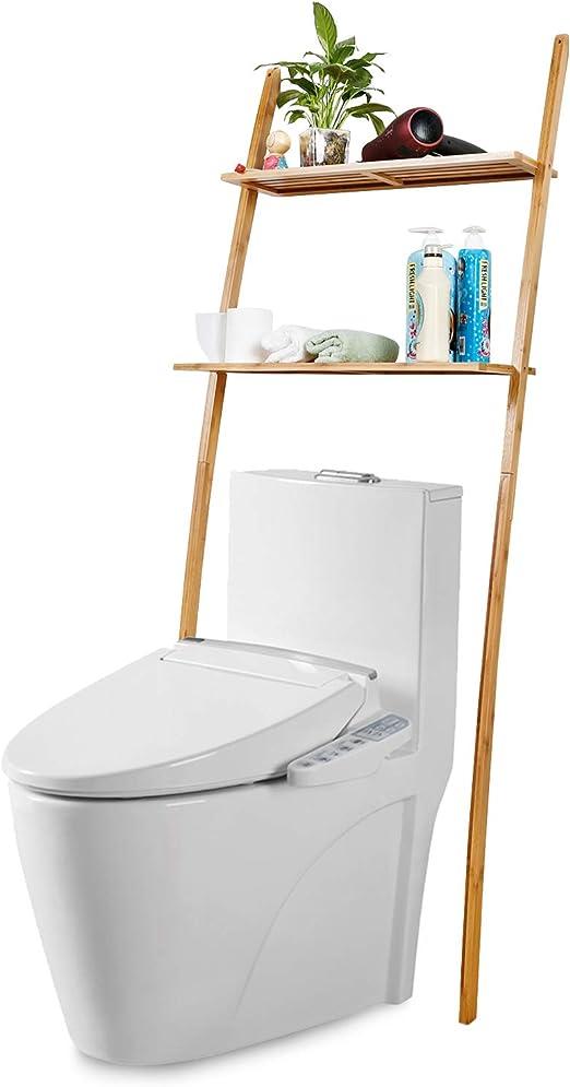 Toilettenregal Waschmaschinenregal platzsparendes Badregal aus Bambus, Bad  WC Regal Lagerregal mit 2 Ablagen – 173 x 66 x 25 cm
