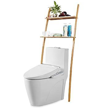Meuble Etagere De Salle De Bain Au Dessus Des Toilettes Wc Lave Linge Avec 2 Tablettes Bambou 173 X 66 X 25 Cm