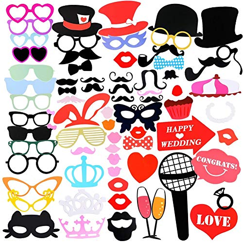 75Pcs Photo Booth Props DIY Set for Bachelorette Girls Night Wedding Birthday Party , Home Wine Tie Hat Love Heart Beard Mask Glasses Stickers Supplies Dress Up Photography Accessories with Wood Stick