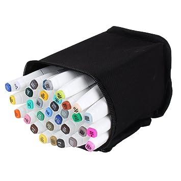 Marcadores gráficos con diseño de animación, a base de alcohol, dual, de punta ancha y fina, más estuche contenedor, color 40 colours