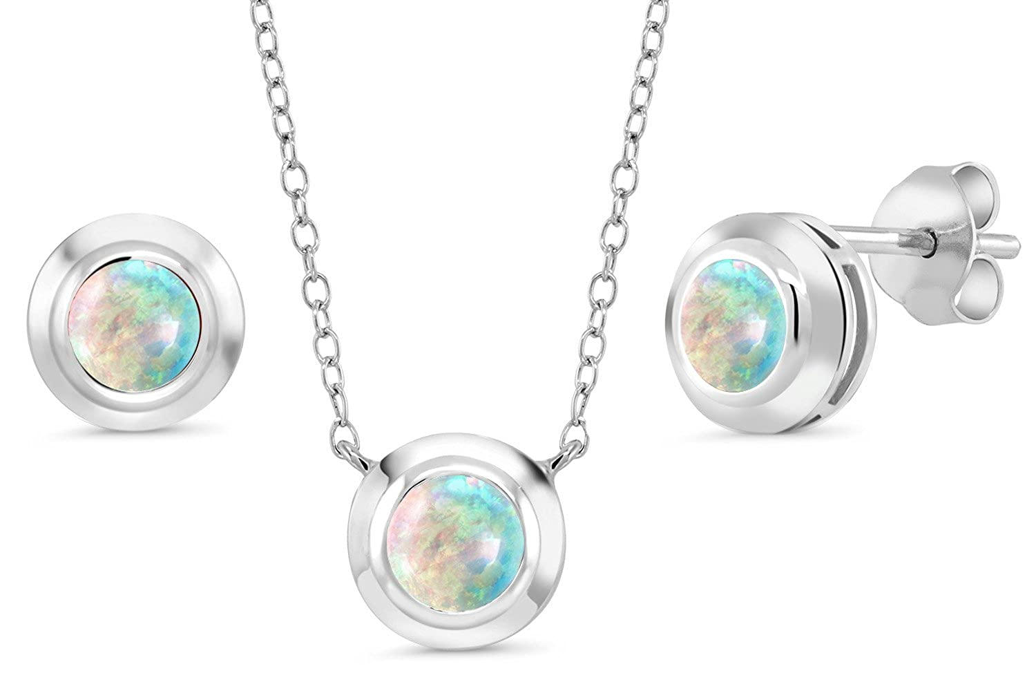 1.75 Ct Round Cabochon White Simulated Opal 925 Silver Pendant Earrings Set