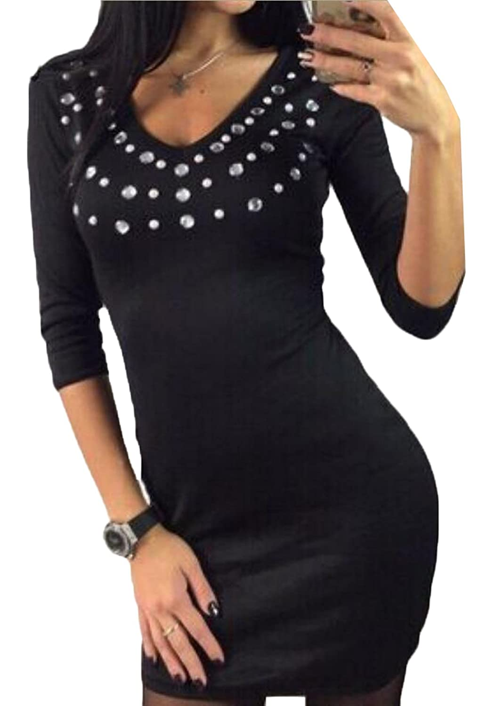 ouxiuli Women's Sexy Bodycon Long Sleeves Midi Nightclub Dress